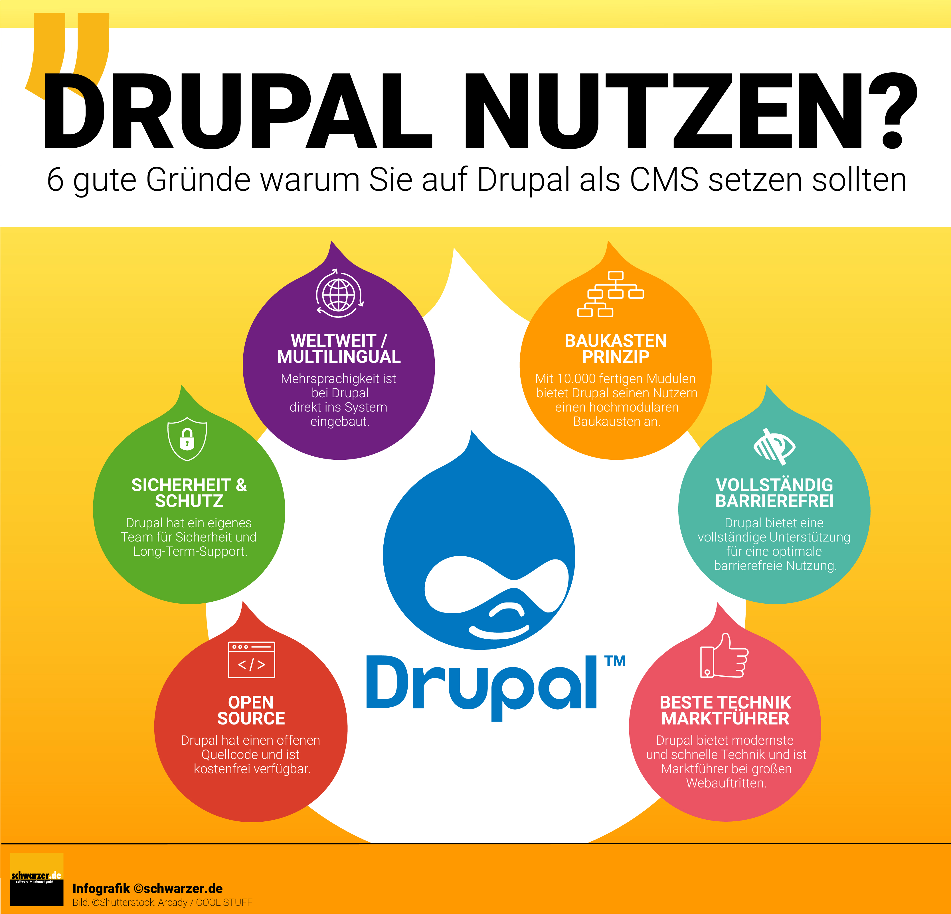 Infografik: Drupal nutzen? 6 gute Gründe warum Sie auf Drupal als CMS setzen sollten.