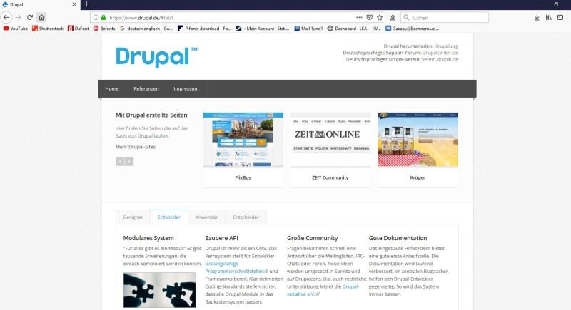 """Auf der Internetseite von Drupal kann man Beispielseiten finden, deren Basis Drupal ist, so z.B. """"Flixbus"""", """"Zeit Community"""" und """"Krüger"""". Weiter Bespiele sind dort zu finden. (#1)"""
