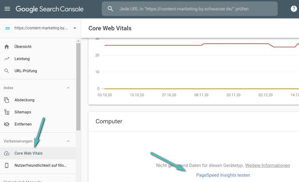 Mit den Page Speed Insights aus der Search Console lassen sich die Google Core Web Vitals mühelos für eine Optimierung heranziehen.