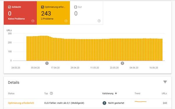 In der Search Console stellt Google zu seinen Core Web Vitals in einem Report seine Bewertung Ihrer Webseite bereit.